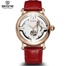 Skone notas femeninas oro rosa mismo viento automático relojes mecánicos mujeres del cuero genuino de la correa del reloj esqueleto para mujer de moda