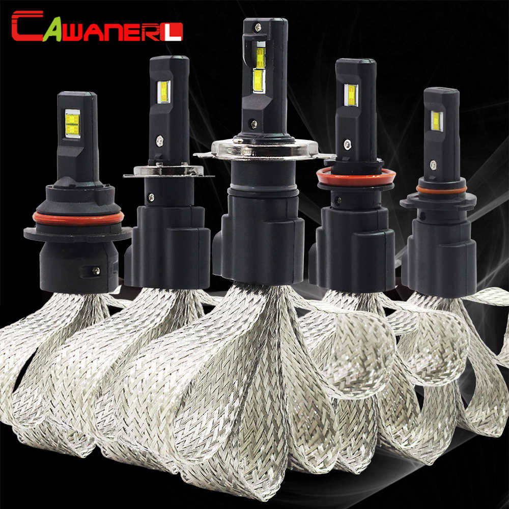 Cawanerl 2 Pieces 60W H1 H3 H4 H7 H8 H9 H11 9005 HB3 H10 9006 HB4 Car LED Lamp 6400LM 6500K White 12V Auto Headlight Fog Light