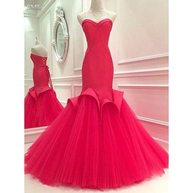 SML Hot Red Sirena Baile Vestidos Largos Para Adolescentes Tul ...