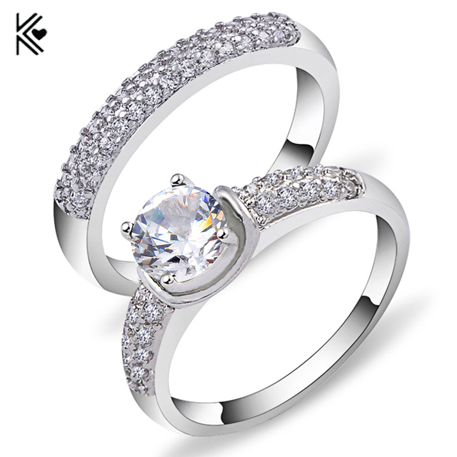 Charming White Crystal Zircon Ring Sets Vintage Wedding Rings For