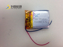 NEWEST producy! 381018 slim lipo curved battery li-polymer battery 40mAh 3.7v lithium polymer battery good quality