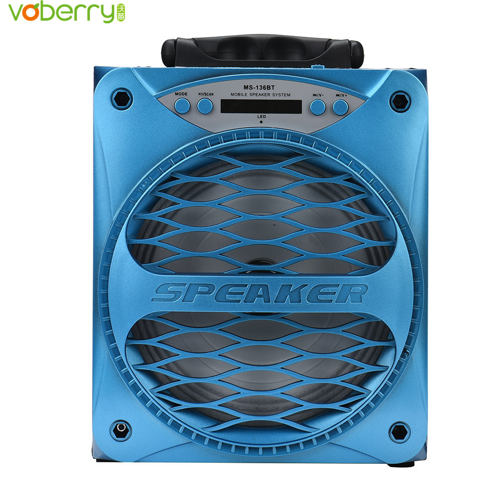 VOBERRY MS-136BT Large Output Wireless Bluetooth Square Stereo Speaker Support AUX TF Input FM Function 3.5mm Audio TF Card USB
