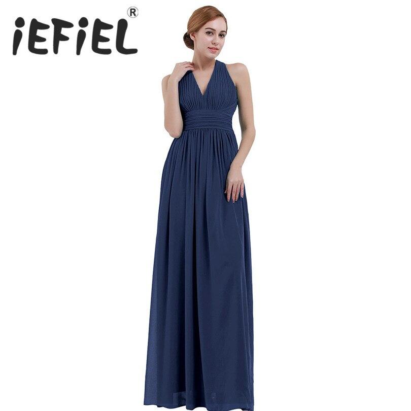 iEFiEL Women Maxi Dress Elegant Bridesmaid Formal Party Wedding Summer Dress Hang-Neck V Neck Dress Chiffon Halter Long Dress