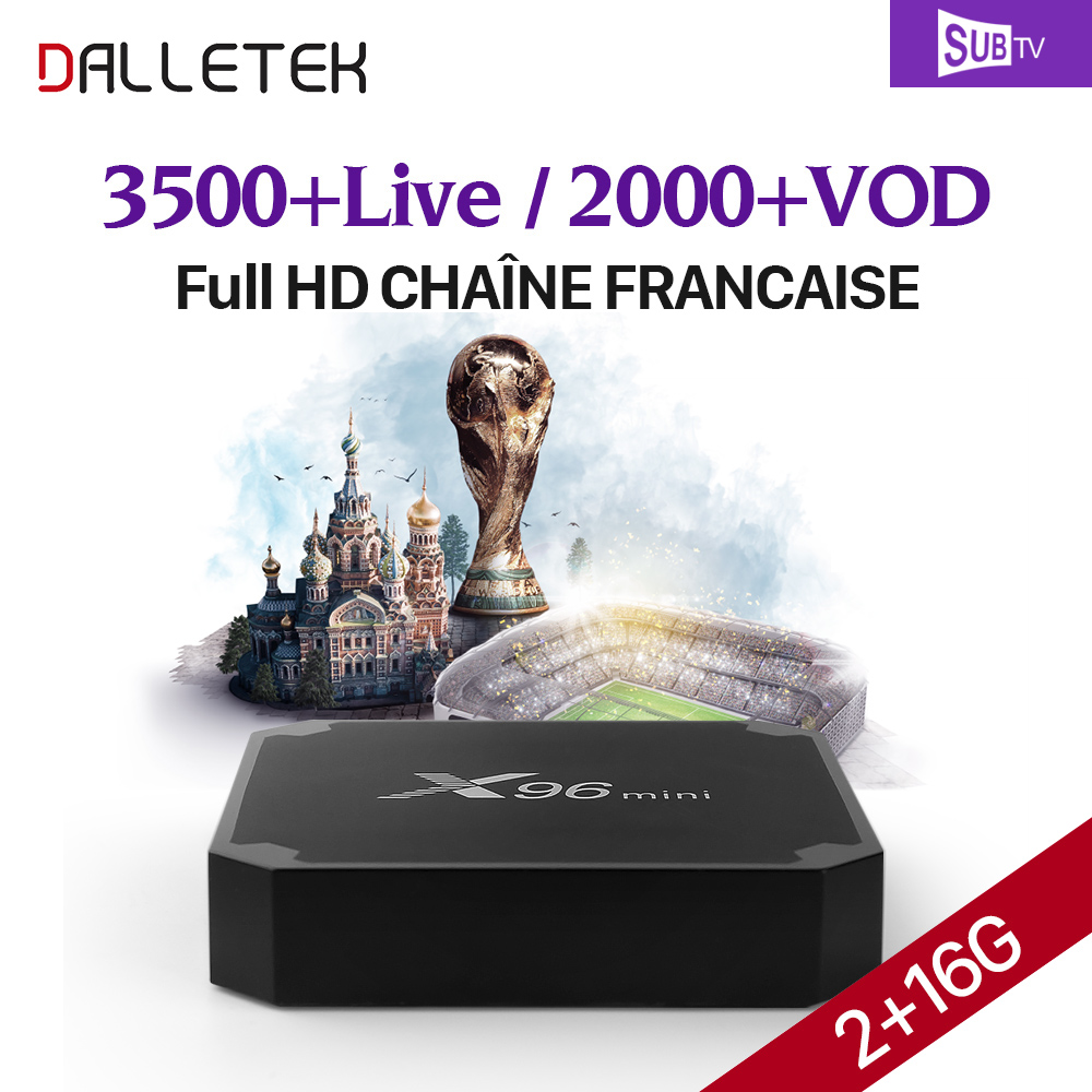 French Arabic IPTV Box SUBTV Code 3500 Channels IPTV Europe Netherlands Belgium Spain 2GB 16GB S905W X96 mini Android 7.1 TV Box цена 2017
