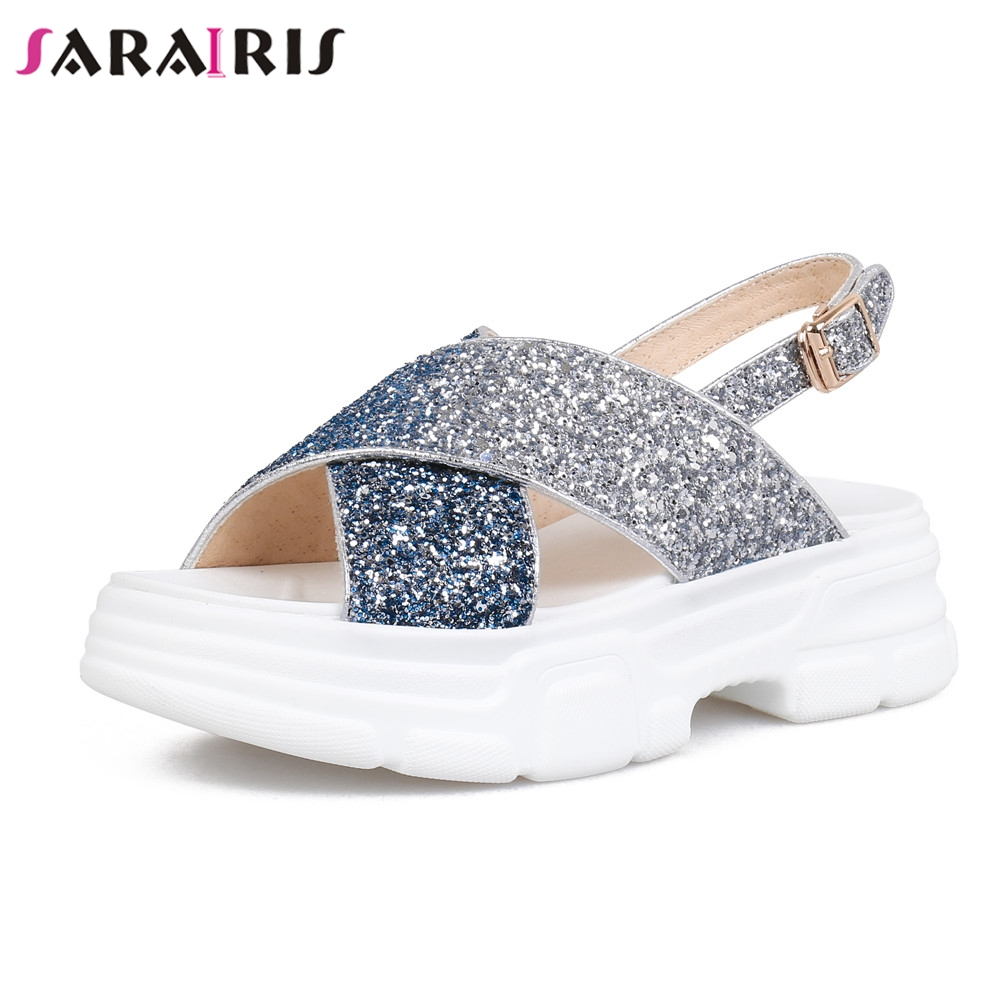 SARAIRIS Brand New Big Size 33-40 INS Hot Ladies Med Heels Bling Women Shoes Woman Casual Summer Sandals Girl Shoes FemaleSARAIRIS Brand New Big Size 33-40 INS Hot Ladies Med Heels Bling Women Shoes Woman Casual Summer Sandals Girl Shoes Female