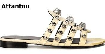 2018 women sexy thin belt flat sandals women summer gold rivets sandals sandalias mujer high quality big size 34 - 43