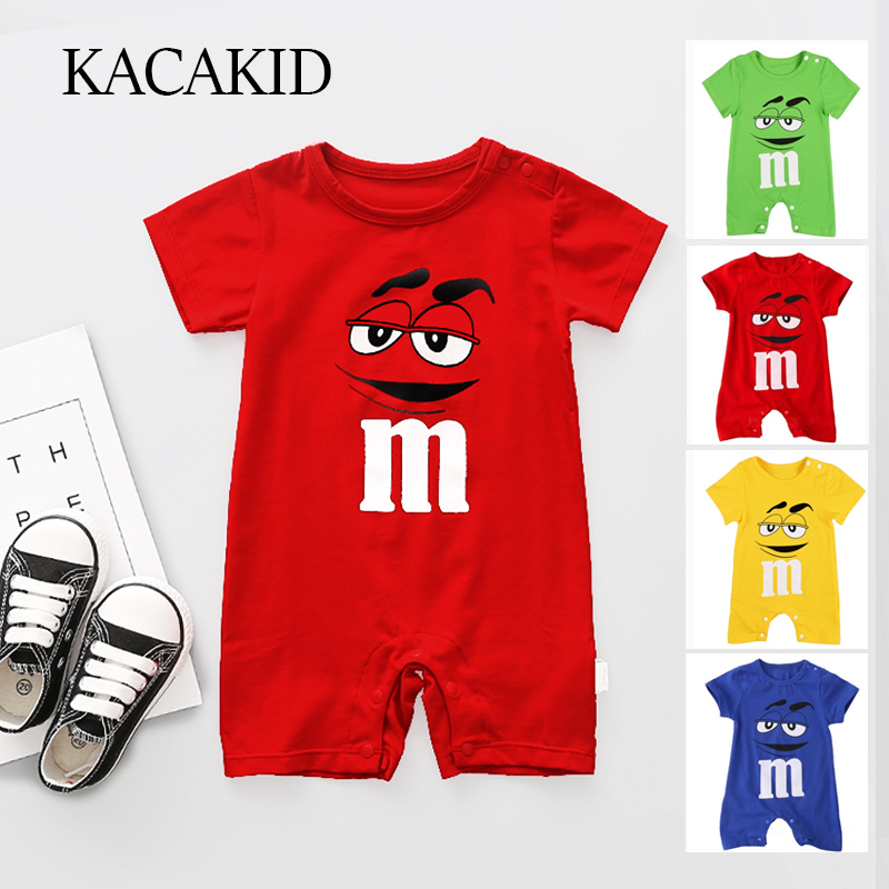 Kacakid Summer Newborn Baby Boy   Romper   Short Sleeve Jumpsuit Cartoon Printed Baby   Rompers   Overalls Baby Clothes 4 Colors Y6