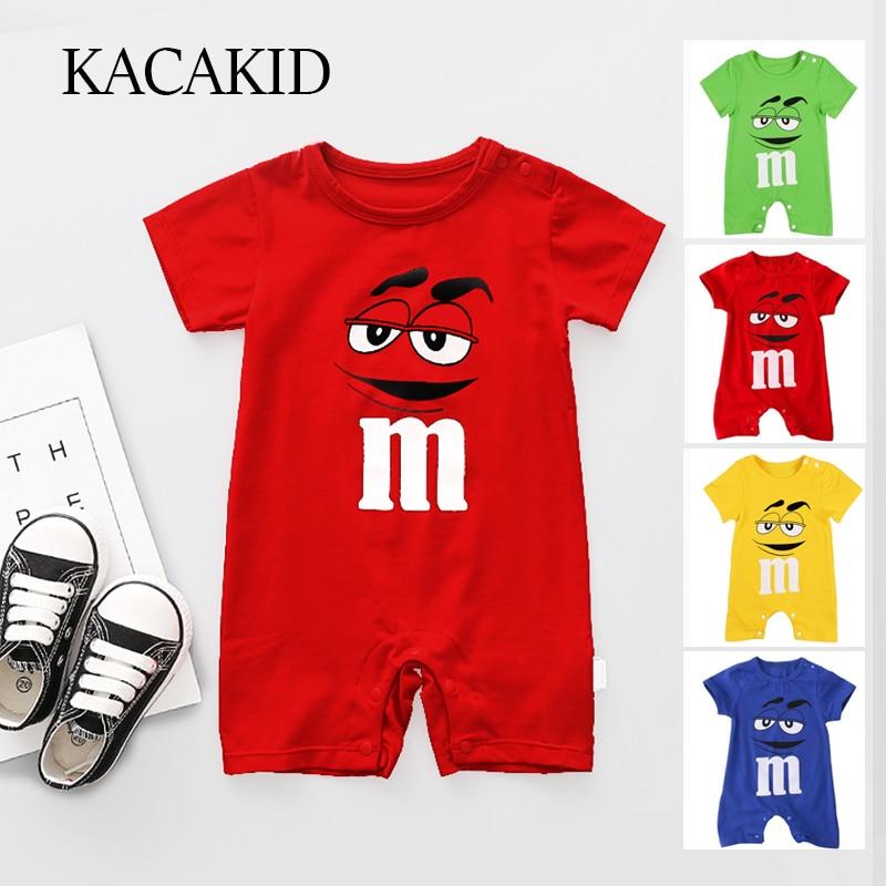 Kacakid Summer Newborn Baby Boy   Romper   Short Sleeve Jumpsuit Cartoon Printed Baby   Rompers   Overalls Baby Clothes 4 Colors Y6