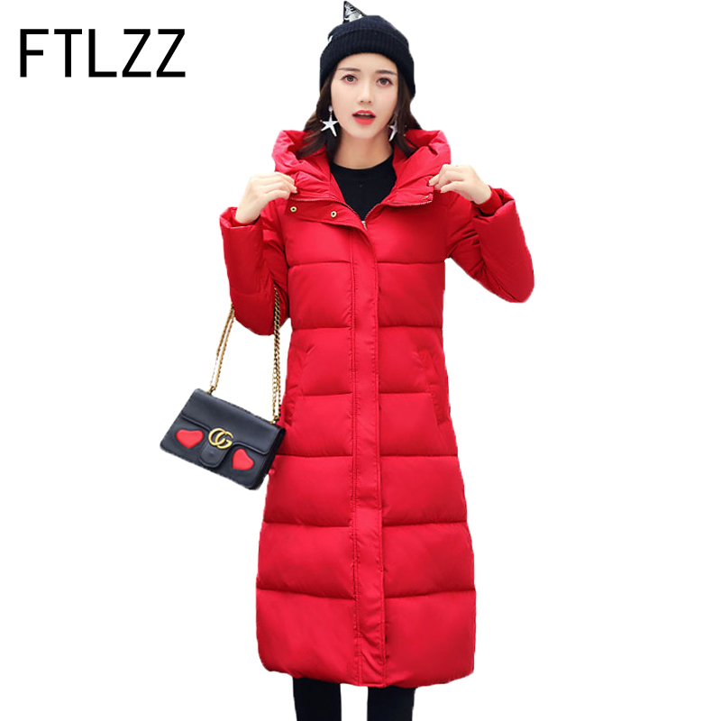 New 2017  Winter Parka Women Padded Jacket Fashion Cotton Padded X-long Design  Slim Hooded Student Warm Winter Thicker Coat 2017 new winter jacket women lovely anime printing cotton padded student parka hooded overcoat thick warm long girl s slim coat
