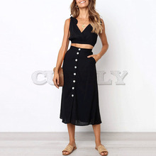 Cuerly bohemian beach bow two piece dress women 2019 summer button sundress streetwear midi dress L5