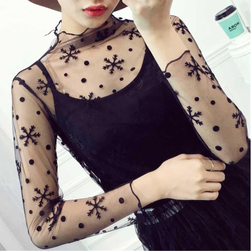 Harajuku черная футболка женская футболка с длинным рукавом звезда клетчатый сетчатый топ прозрачные футболки Сексуальная Клубная одежда Нижнее белье