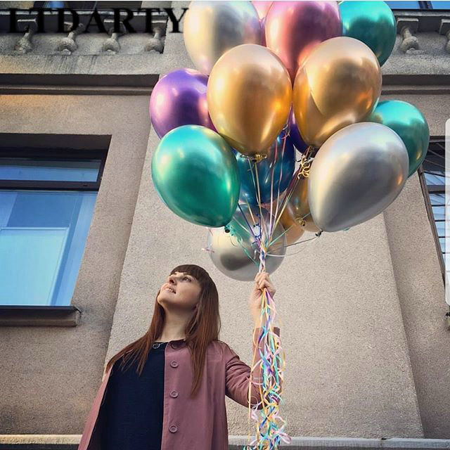 10PCS 12inch Silver Gold Latex Pearly Metal Balloons For Wedding And Birthday Party 2