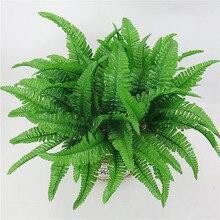 Горячая Распродажа, искусственные цветы, листья, растения, красивые искусственные, реалистичные, пластиковые, персидская трава, папоротник, цветочные, свадебные, зеленые листья, украшения