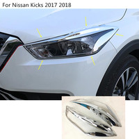 Car Body Styling Cover Detector ABS Chrome Front Head Light Lamp Trim Frame 2pcs For Nissan