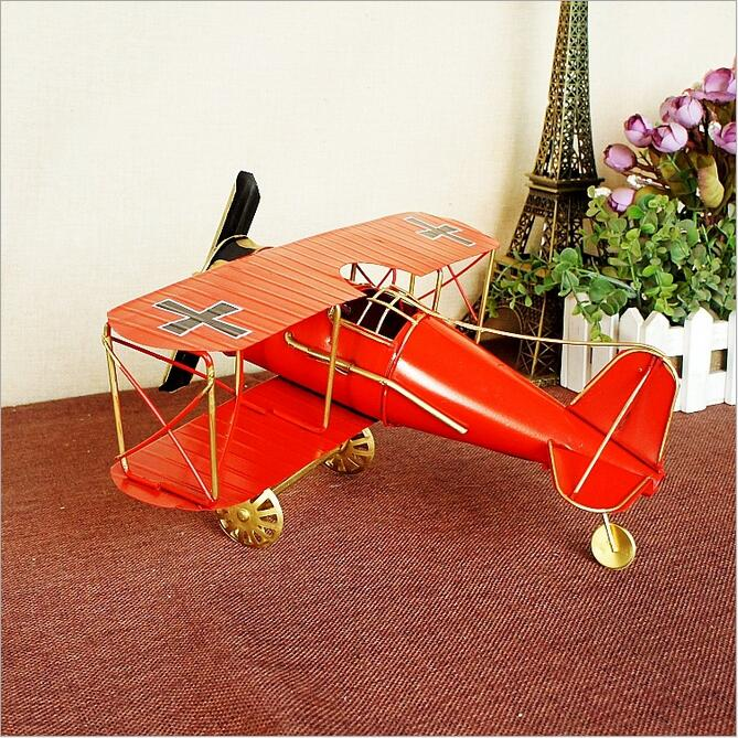 Double Wings Metal Airplane Model Large 27 31 14cm medium size 21 22 9 5cm Retro Aircrafts Iron Ornaments Office shop Decor in Figurines Miniatures from Home Garden