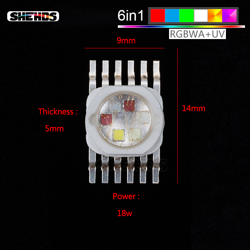 LED Lighting Chips RGBWA+UV 6IN1 Par 64 Led Stage Lights Chips Red/Green/Bule/White/Abmer/Ultraviolet For Stage Lighting Chips