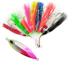 10pcs Trolling squid skirts Fishing Baits 12cm and 6pcs slow jigging lures Mixed colors