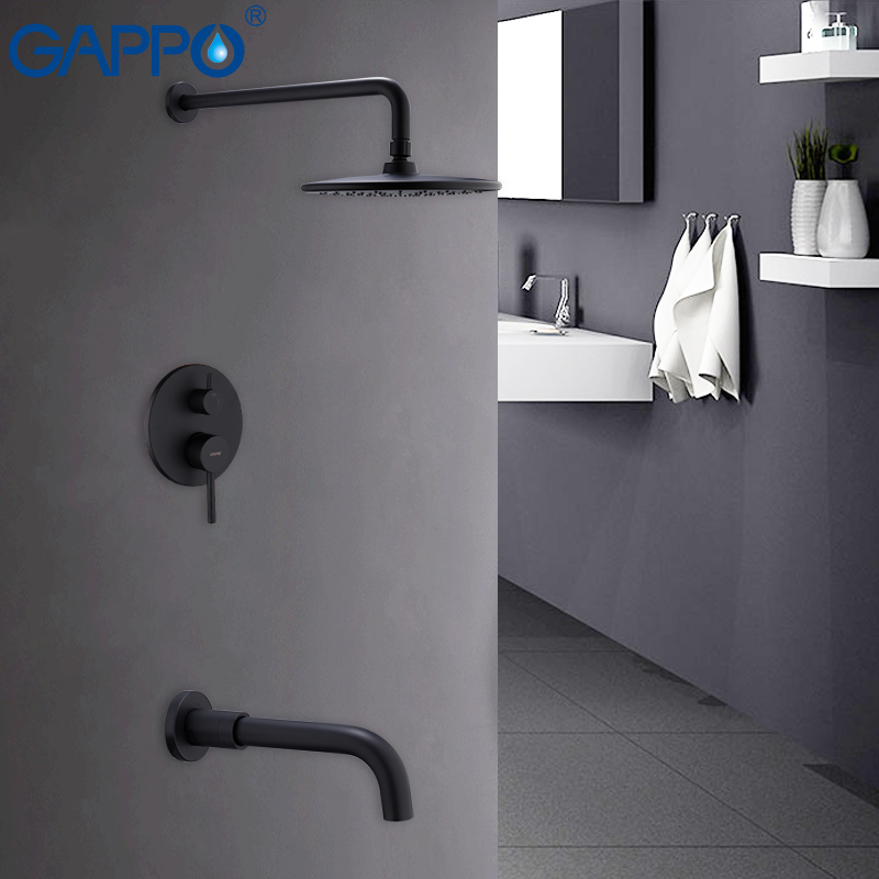 GAPPO shower faucet rainfall shower set bathroom shower mixer black and chrome waterfall bath faucets concealed