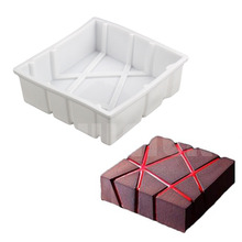 DIY Mousse Cake Silicone Mold White Cube Twill Shaped Decorating