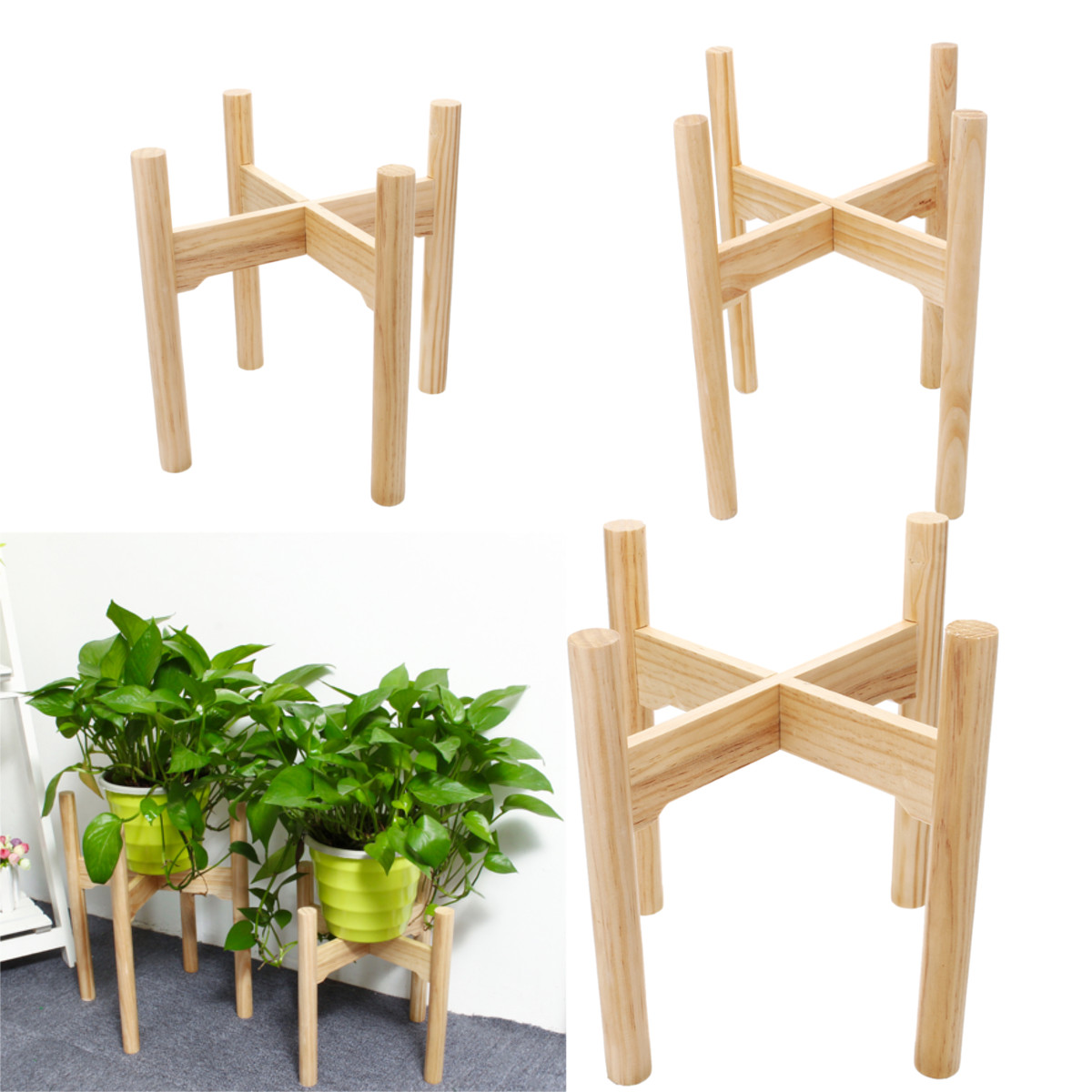 Furniture New Wooden Plant Stand Flower Pot Garden Rack Stand Flower Display Storage Rack Wood Shelf