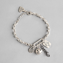 BIG J.W Pure 925 Sterling Silver Bracelets For Women Cute Smile Face Doll Letters Tag Adjustable Charm Bracelet Stylish Jewelry