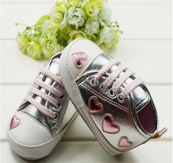 Pink Love Kid Toddler Baby Girl Silver Crib Heart Soft Shoes Walking Sneaker 0-18 M New