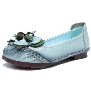 Image 2 - GKTINOO printemps été à la main en cuir véritable Ballet chaussures plates pour les femmes Super doux respirant femmes chaussures plates avec des fleurs