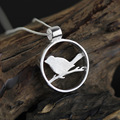 Poetic 925 sterling silver jewelry  Pendant bird on branch with bird cage pendant
