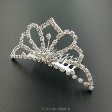 95*42MM 4PCS Silver Alloy & Glass Rhinestone Hair Claw Bride Tiaras Hairwear Jewelry