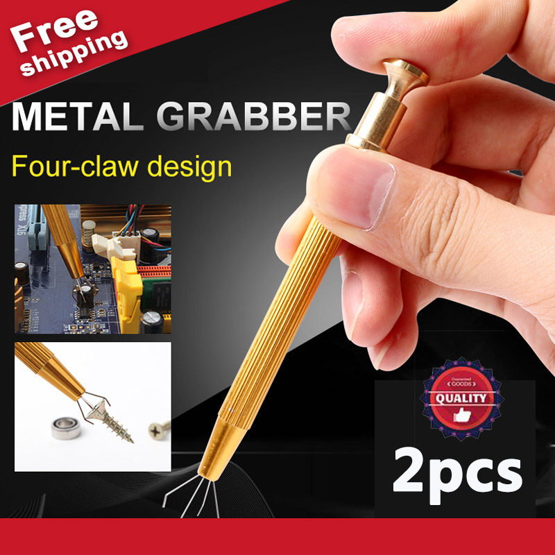 2 PCS Precision Parts Gripper Pick Tools Four Claw Hold Tightly Catcher IC Chip Component Electrician Hand Tools Metal Grabber