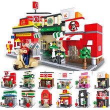 Children's Building Blocks Toy 3d Fast Food Pizza Ice Cream Candy Shop Mini City Street View Shop Series Diy Compatible LG(China)