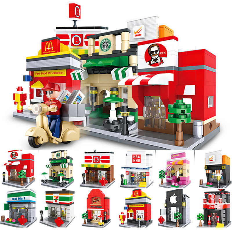 Children's Building Blocks Toy 3d Fast Food Pizza Ice Cream Candy Shop Mini City Street View Shop Series Diy Compatible LG
