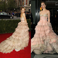 Free Shipping 2016 Met Gala Suki Waterhouse Red Carpet A-line Tiered Strapless Backless Celebrity Dresses 2016