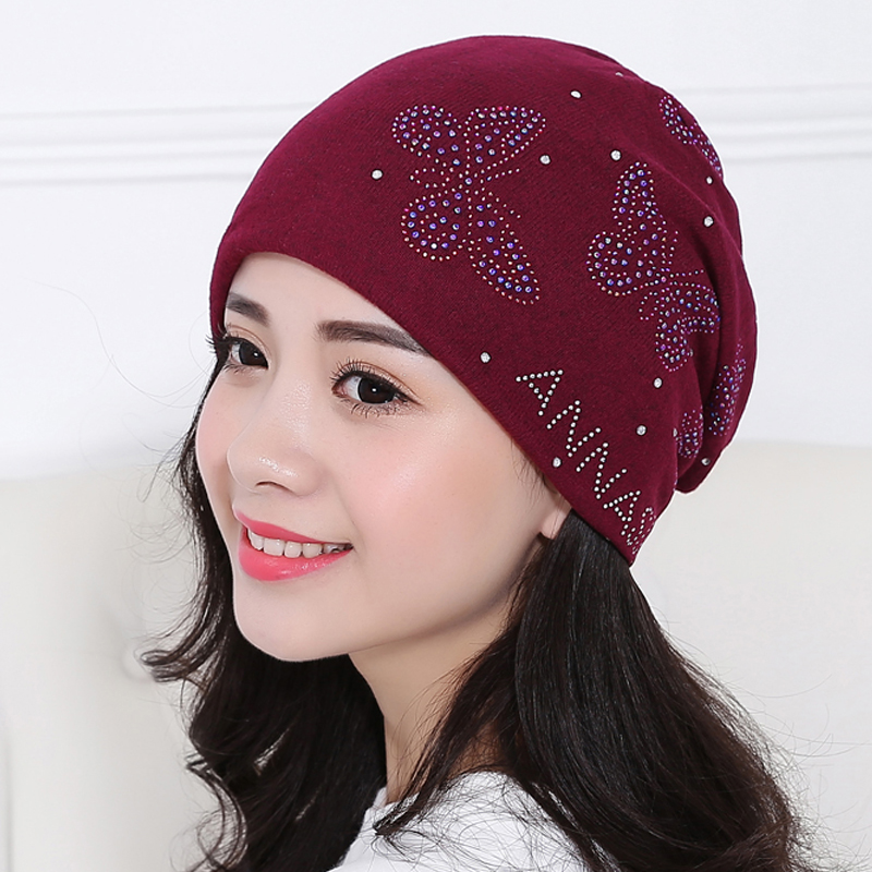 Autumn And Winter hats for Women beanies Lady skullies Diamond Butterfly hat Hip-hop Knitted Cap gorro bonnet womens turban caps 2017 new lace beanies hats for women skullies baggy cap autumn winter russia designer skullies