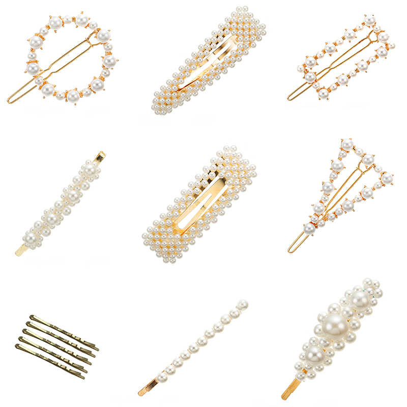 2019 Korea Fashion Pearl Hair Clip Barrettes for Women Girls Handmade Pearl Hairpin Hair Accessories