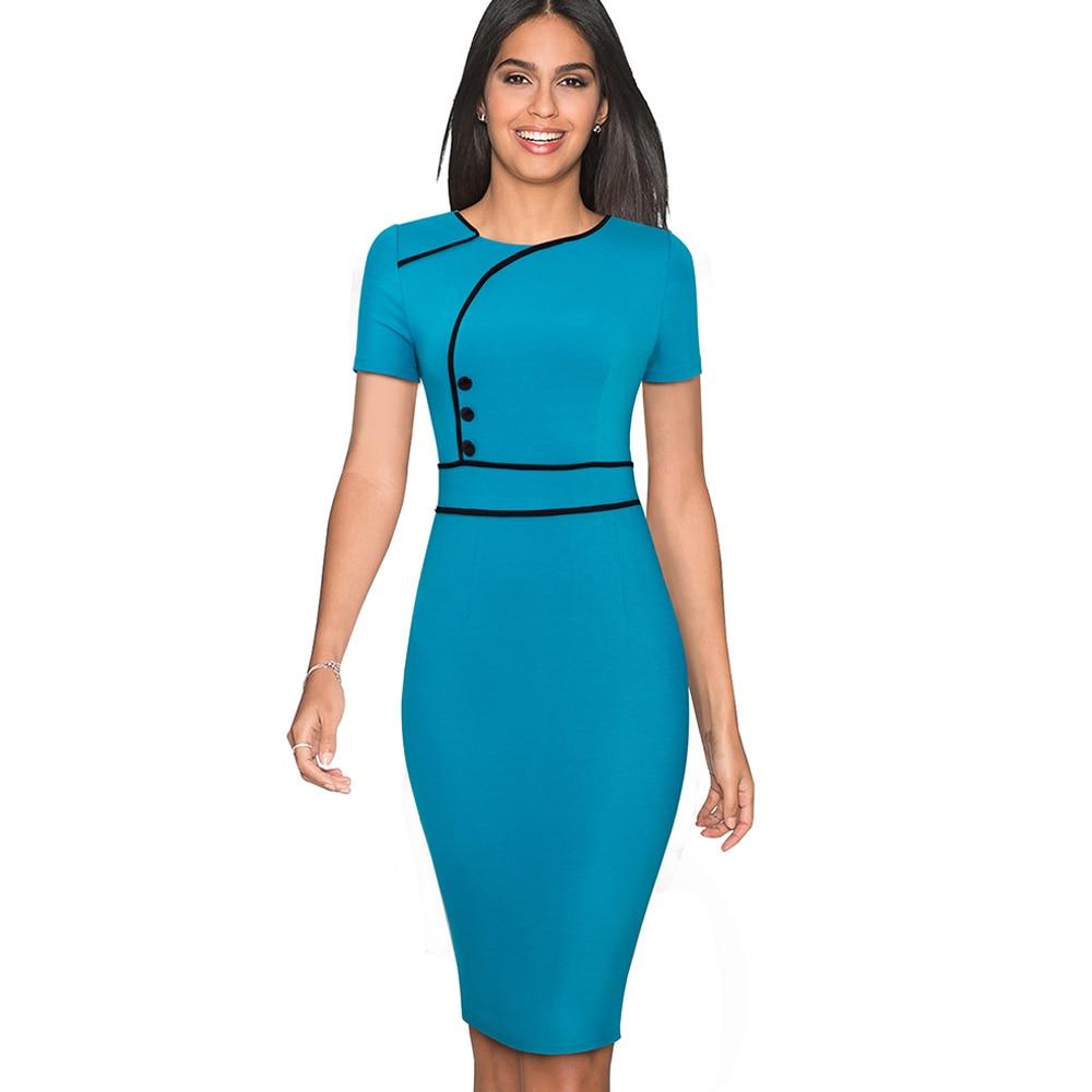 Nice-forever Vintage Elegant Patchwork Wear to Work Female vestidos Business Bodycon Office Party Sheath Women Dress B509