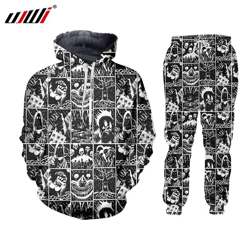 UJWI 3D Full Printed Black And White Comics Horror Hooded Jacket Pants Men's Custom Street Winter Suit Big Size Fashion Clothing