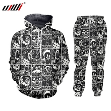 UJWI 3D Full Printed Black And White Comics Horror Hooded Jacket Pants Mens Custom Street Winter Suit Big Size Fashion Clothing