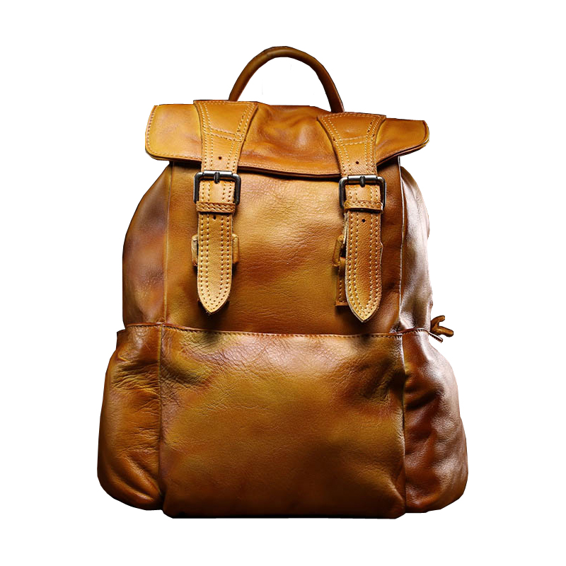 Brushed Off <font><b>Genuine</b></font> <font><b>Leather</b></font> <font><b>Backpack</b></font> <font><b>Unisex</b></font> Travel Day Bag Casual Travel School Bag Top-handle Shoulder Bags Men&Women image