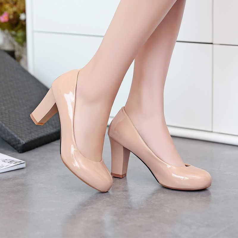 Moda Tatlı Büyük boy 34-47 4 Renk Yeni Bahar Sonbahar kadın Pompaları Kadın yüksek topuklu ayakkabı PU Parti pompaları 222-7