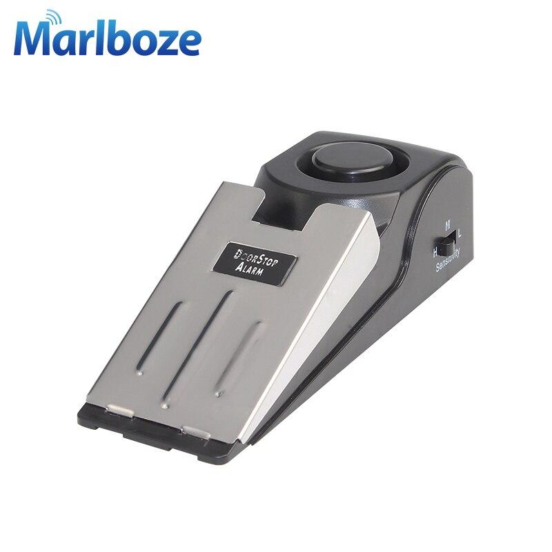 Neue Mode Mini Wireless Vibration Alarm 120db Tür Stop Alarm Für Home Keil Geformt Stopper Alert Sicherheit System Block Blockieren System Sensor & Detektor
