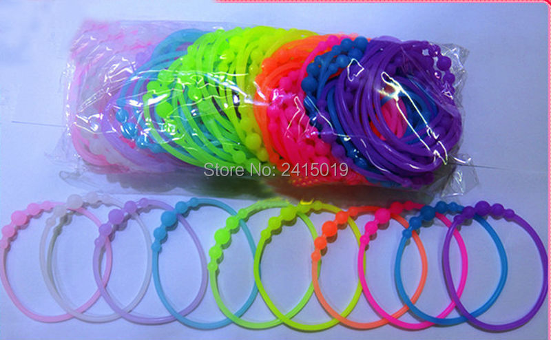 100x girls boys beaded fluorescent silicone bracelets wristband stretchable charm glow in dark hairbands night club bag fillers