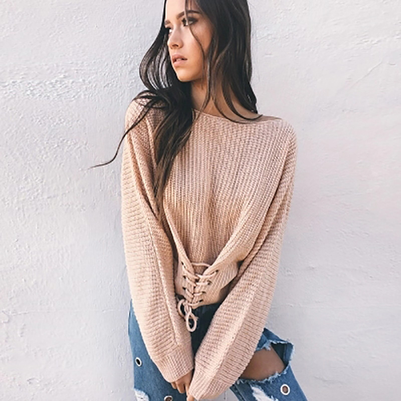 women sweaters pullover mama 2019 girls cute o neck computer knitted lace up plus size oversized sweater korean in Pullovers from Women 39 s Clothing