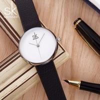 Shengke Women Watches Girls Quartz Clock Top Brand Leather Watch Causal Black White Female Wristwatches Relogio