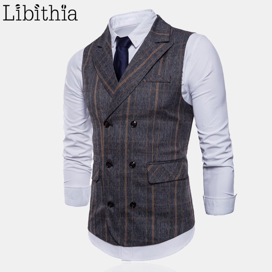 Mens Formal Plaid Suit Vest High Quality Double-breasted Big Size M-4XL Luxury Waistcoat Men Dark Grey Coffee T053