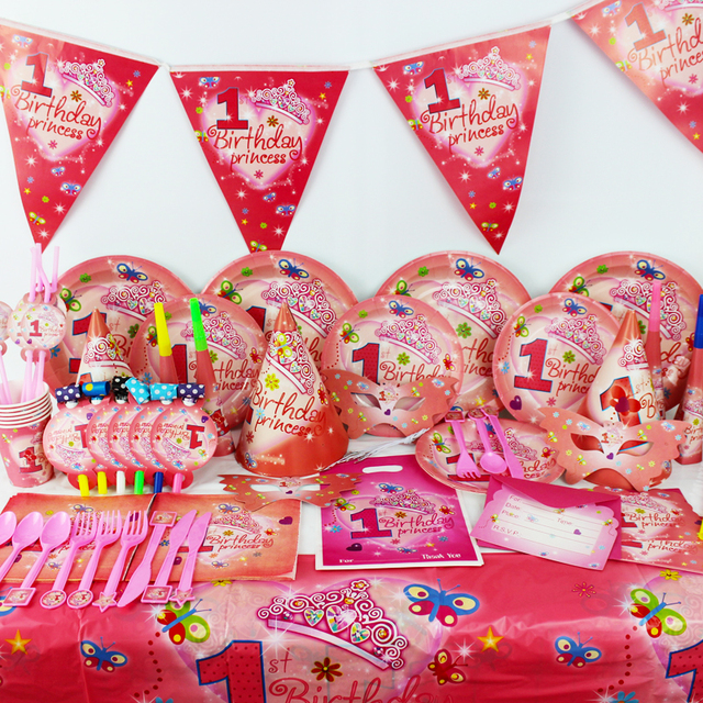 New 78pcs Pretty Girl 1 Year Old Kids Boys Birthday Party Decorations Evnent Supplies