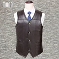Black brown genuine leather vest 100% lambskin leather jacket men winter warm fleece lined waistcoat chaleco hombre colete LT926