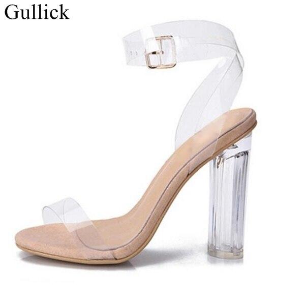 ПВХ Сандалии для девочек Сексуальная Ясно Обувь прозрачный Туфли с ремешком и пряжкой босоножки на высоком каблуке плюс Размеры Женская обувь с кристаллами Насосы Лето Обувь
