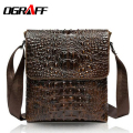 OGRAFF Genuine leather bag men messenger bags crocodile pattern leather Brand real leather shoulder bags mens handbag business