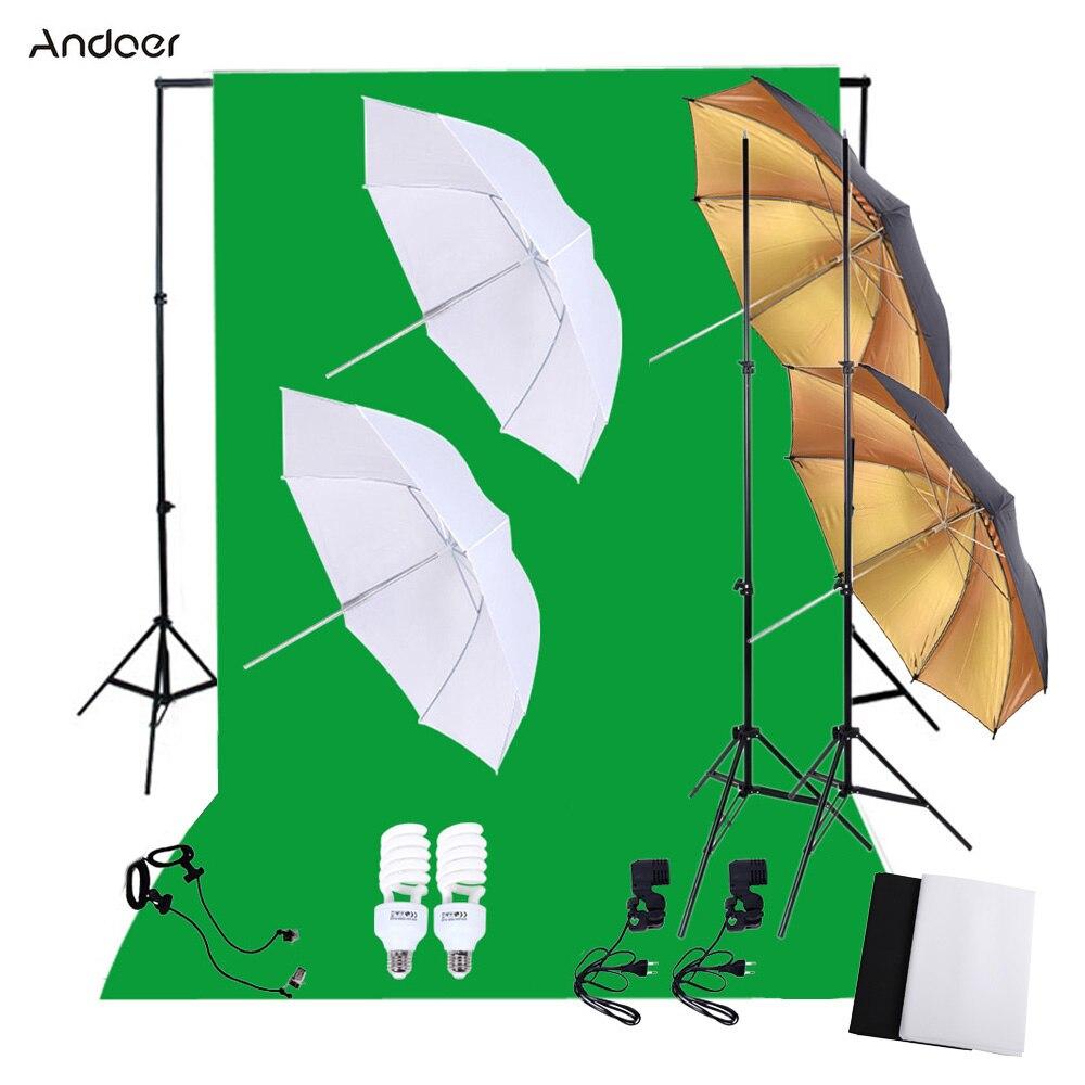 bilder für Andoer Professionelle Fotostudio Fotografie Beleuchtung Kit mit 45 Watt Lampen Licht Steht Green Screen Hintergrund Softbox Reflektor